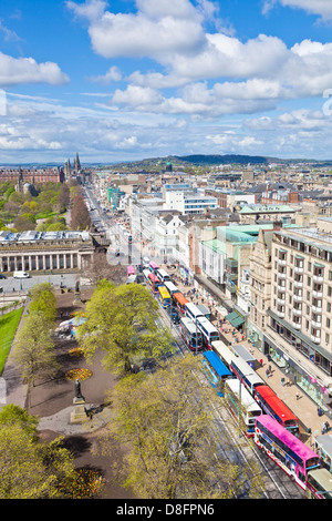 View of busy traffic on Princes street Edinburgh city centre Edinburgh Midlothian Scotland UK GB EU Europe - Stock Photo