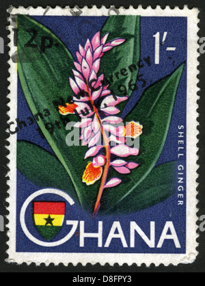 Ghana,post mark,stamp,flowers, plants, flora,flower - Stock Photo