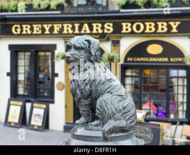 Greyfriars Bobby's monument is on the corner of Candlemakers Row and King George IV Bridge Edinburgh Scotland UK - Stock Photo