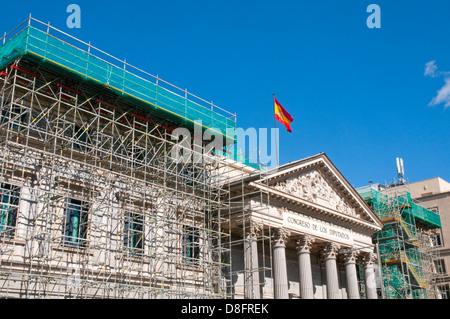 Facade of Congreso de los Diputados in works. Madrid, Spain. - Stock Photo