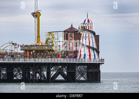Helter Skelter and Merry go round on Brighton Pier.