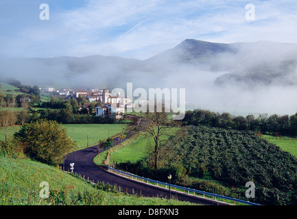 Overview, road and cultivation fields. Amaiur, Baztan valley, Navarra, Spain. - Stock Photo