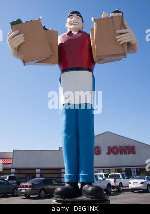 Big John Giant Statue at a supermarket in Metropolis Illinois - Stock Photo