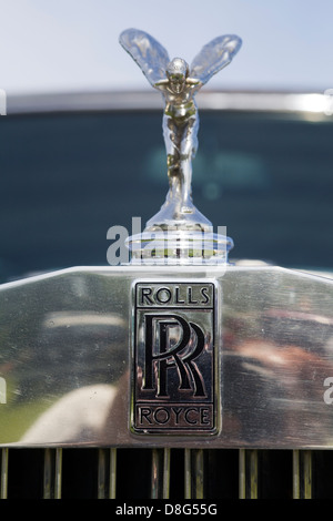 Front hood Ornament on a classic Rolls Royce - Stock Photo