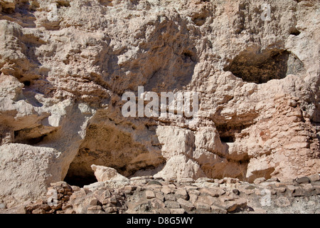 Shallow caves in limestone cliffs at Montezuma Castle National Monument near Camp Verde, Arizona - Stock Photo