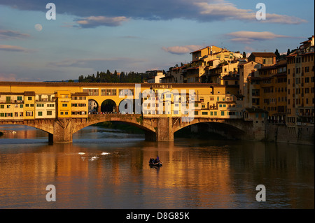 Ponte Vecchio, which overlooks the Arno river, Italy, Tuscany, Florence, historic center listed as World Heritage - Stock Photo