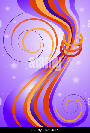 Bright curved stripes on purple background - Stock Photo