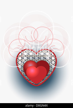 Red heart decorated with curves and beads. - Stock Photo