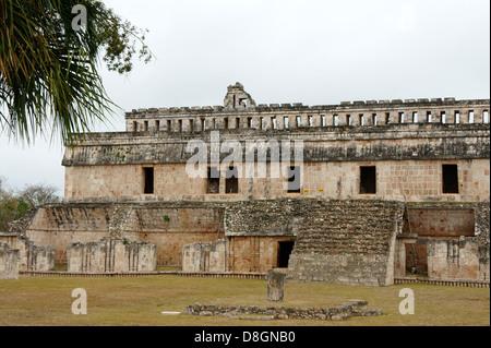 The Palace or El Palacio at the Mayan ruins of Kabah, Yucatan, Mexico - Stock Photo