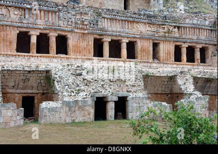 The Palace or El Palacio at the Mayan ruins of Sayil, Yucatan, Mexico - Stock Photo