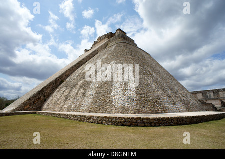 Pyramid of the Magician at the Mayan ruins of Uxmal, Yucatan, Mexico - Stock Photo