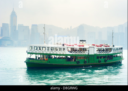Ferry 'Solar star' on the way from Hong Kong to Kowloon island . - Stock Photo