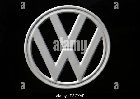 Badge on a !966 Volkswagen Camper bus - Stock Photo