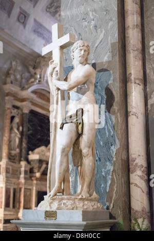 Michelangelo, statue of Christ the Redeemer in the basilica of Saint Mary above Minerva, Santa Maria sopra Minerva, - Stock Photo