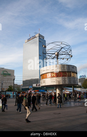 World Clock and Park Inn Hotel, Alexanderpaltz, Berlin, Germany - Stock Photo