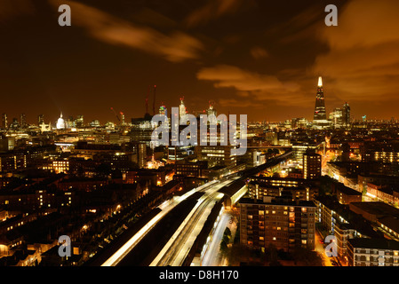 London Aerial Night View From Waterloo Station Towards the City. London, England, United Kingdom. - Stock Photo