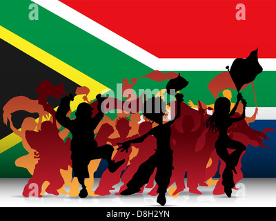 Vector - South Africa Sport Fan Crowd with Flag Stock Photo