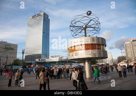 World Clock and Park Inn Hotel, Alexanderplatz, Berlin, Germany - Stock Photo