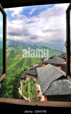 View from a hilltop village at the Dragon's Backbone rice terraces, Guangxi Province, China - Stock Photo