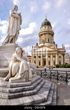 French Cathedral and Schiller statue, Gendarmenmarkt, Berlin - Stock Photo