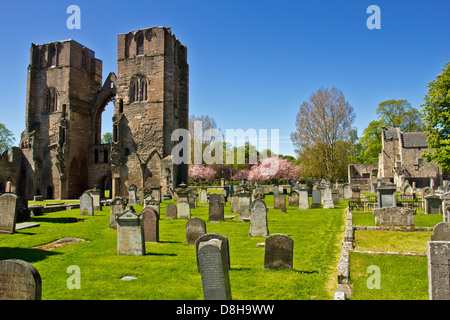ELGIN CATHEDRAL IN EARLY SPRING A VIEW OF THE TWO MAIN TOWERS MORAY SCOTLAND - Stock Photo