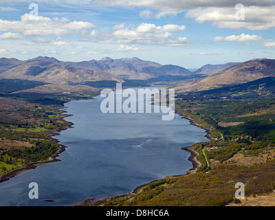 Looking up the western end of Loch Linnhe towards Glenfinnan, from Fort William, North West Scotland - Stock Photo