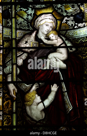 Stained Glass Window All saints Church Thelwall South Warrington Cheshire England UK - Stock Photo