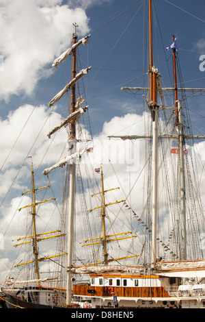 Old sailing ships on Ij Meer in Amsterdam, Netherlands. - Stock Photo