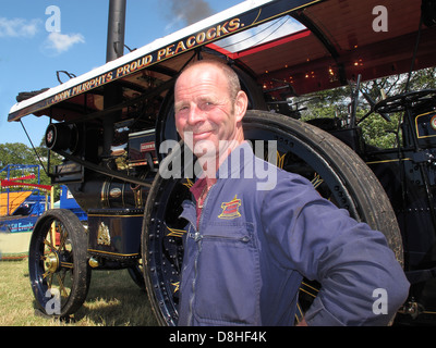 John Murphys Proud Peacocks Steam Engine at the Cheshire Steam Fair , July 2011 with engineer , Daresbury , Chester, - Stock Photo