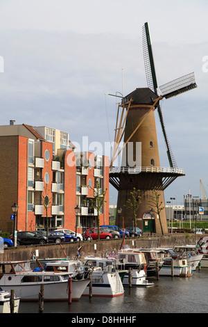 Netherlands, Rotterdam, Delfshaven, windmill, - Stock Photo