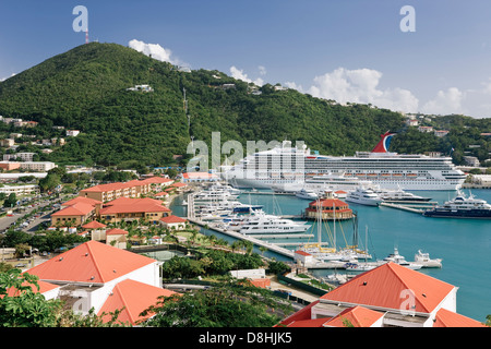 West Indies, Caribbean, Lesser Antilles, Leeward Islands, US Virgin Islands, St. Thomas, elevated view of Charlotte - Stock Photo