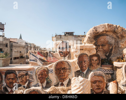 Israel. Yossi Lugasi's 'Mosaic House' in Jaffa, covered from the inside and the outside by more than 600 portraits - Stock Photo
