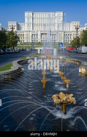 Europe, Romania, Bucharest, Palace of Parliament building, it was called the House of the People (Casa Poporului) - Stock Photo