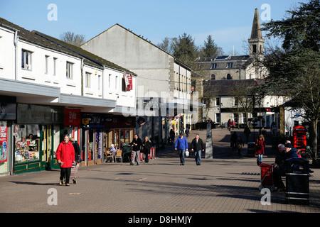 Milngavie Town Centre pedestrian precinct at the start of the West Highland Way, East Dunbartonshire, Scotland, - Stock Photo