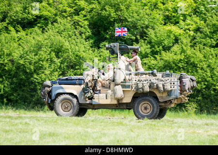 British Army Land Rover 110 HiCap V8 SAS SOV Special Operations Vehicle on display at the 2013 Denmead Overlord, - Stock Photo