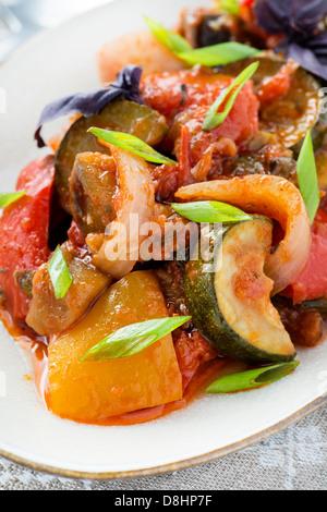 Ratatouille - traditional vegetable stew, closeup - Stock Photo