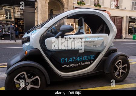 Paris. A Renault Twizy electric car (quadricycle). - Stock Photo