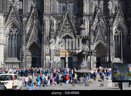 The front of Cologne Cathedral, the High Cathedral of St Peter, a UNESCO World Heritage Centre, in Germany, Europe - Stock Photo