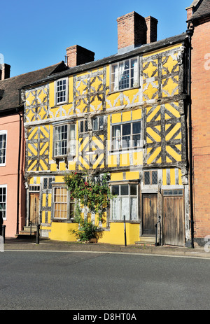 Old Tudor half-timbered style houses in Ludlow, Shropshire, England. Lower end of Corve Street - Stock Photo
