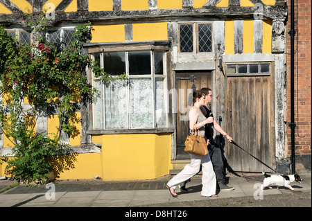 Old Tudor half-timbered style house in Ludlow, Shropshire, England. Lower end of Corve Street - Stock Photo