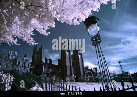 Edinburgh city Playfair steps in IR Infrared, Scotland UK - Stock Photo