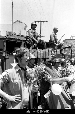 hippies and anti war demonstrators protest Vietnam war and peoples park in Berkeley - Stock Photo