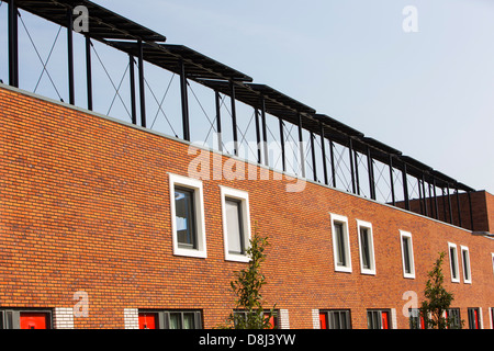 Solar panels on houses in Almere, Netherlands. - Stock Photo