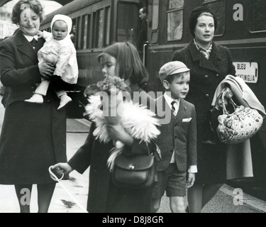 PRINCESS GRACE OF MONACO with children about 1966. From left: nurse carries Stephanie then  Caroline and Albert - Stock Photo