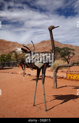 Metal ostrich sculpture, Ranch Koiimasis, Tiras Mountains, Southern Namibia, Africa - Stock Photo