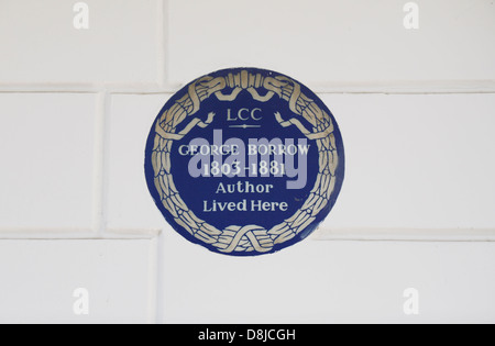 London County Council blue plaque for George Burrow, in South Kensington, London SW7, UK. - Stock Photo