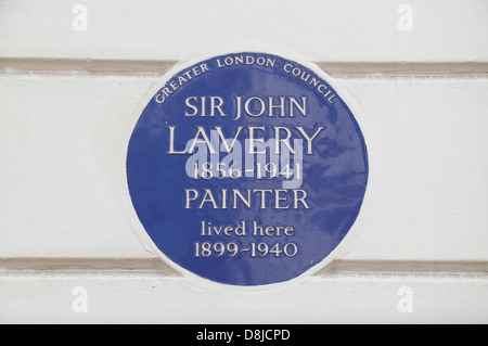Greater London Council blue plaque for the painter Sir John Lavery, 5 Cromwell Place, South Kensington, London SW7, - Stock Photo