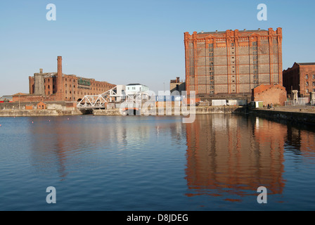 Tobacco Warehouse and Bascule Bridge at Stanley Dock, Liverpool Docks. - Stock Photo