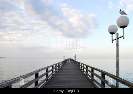 Pier in the evening, Binz, Ruegen Island, Germany - Stock Photo