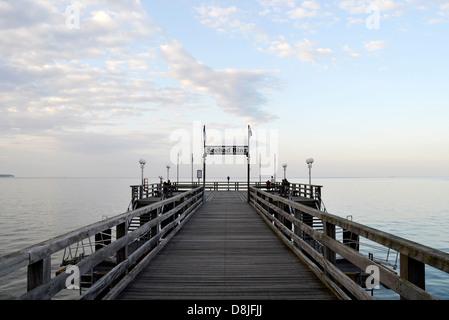 Pier in the evening, Binz, Ruegen Island, Germany - Stock Photo
